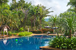view of public beautiful swimming pool in tropical resort , Koh