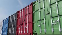 Row Of Multicolored Cargo Cont...