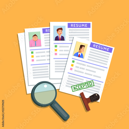 vector flat illustration of a resume cv icon on yellow