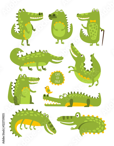 Fotografie, Obraz  Crocodile Cute Character In Different Poses Childish Stickers