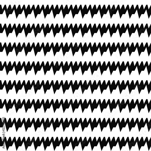 Seamless Horizontal Sharp Edges Lines Pattern Repeated Black Jagged Stripes On White Background Waves