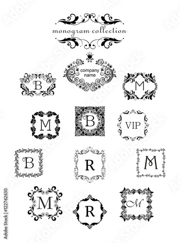 Collection of vintage floral templates logo templates vintage collection of vintage floral templates logo templates vintage vector black monogram frames for stopboris Gallery
