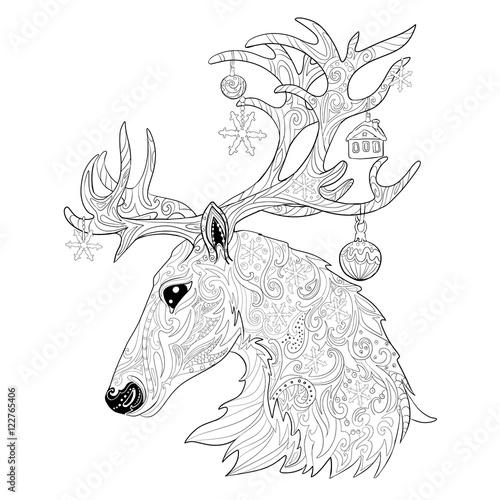 Christmas reindeer. Hand drawn doodle illustration ...