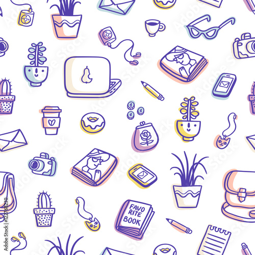 Cotton fabric What's on my table purple colorful seamless pattern