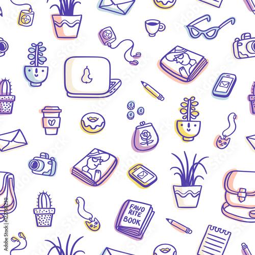 Materiał do szycia Co to jest na mój stół fioletowy kolorowy wzór bez szwu