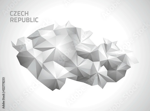 Czech Republic polygonal map Tablou Canvas