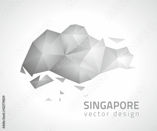 Singapore polygonal grey and silver vector mosaic map - Buy this ...