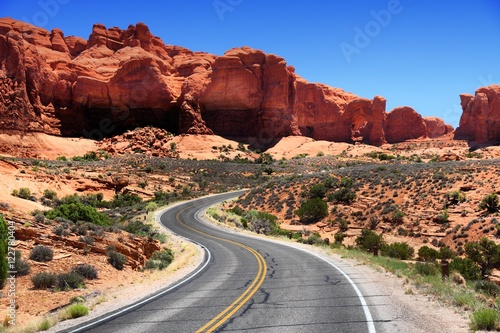 USA National Park - Arches National Park road Wallpaper Mural