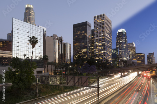 Los Angeles downtown twilight transition