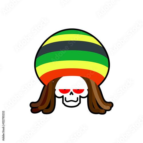 Photo  Rasta death. Rastafarian dreadlocks skull and beret. Grim Reaper