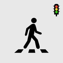 Crosswalk And Pedestrian