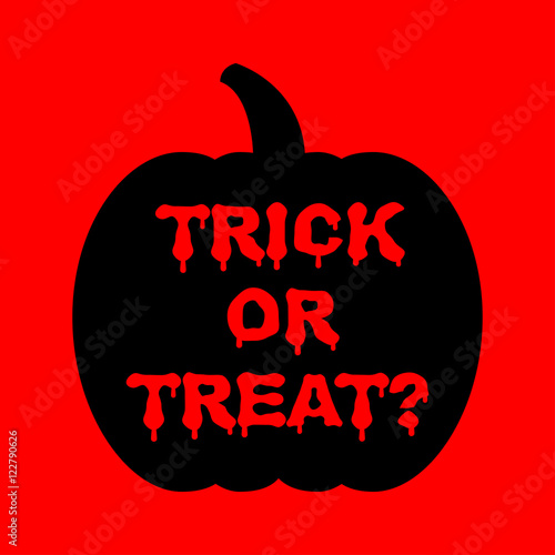 Tuinposter Halloween Icono plano Trick or Treat goteando en calabaza sobre fondo rojo