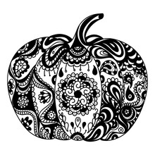 Vector Coloring Book Page Design With Pumpkin