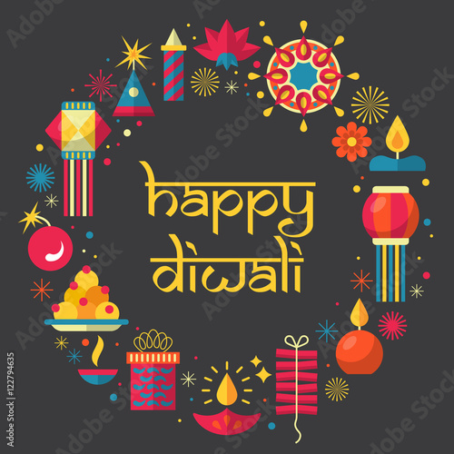 Photo  Diwali Hindu festival greeting card design with flat modern elem