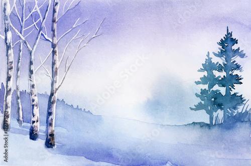 Tuinposter Purper Winter landscape. Watercolor landscape illustration. Christmas b