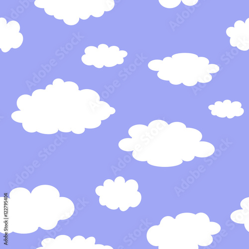 Poster Ciel Seamless blue background with clouds