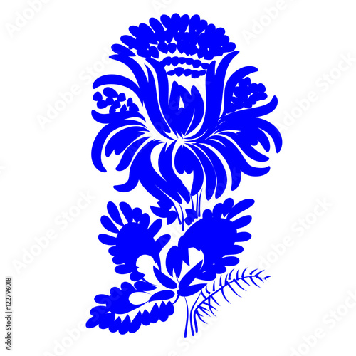 Fotografija  flower blue silhouette vector eps10 folk art decorative painting
