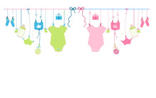 Baby Newborn Hanging Baby Boy Baby And Baby Girl Symbols Illustration