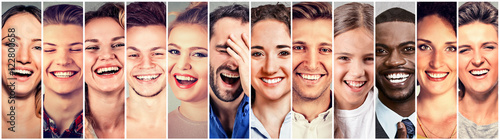 Fotografie, Obraz  Laughing people. Group happy men, women, children