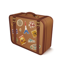Vector Old Vintage Leather Suitcase With Travel Stickers