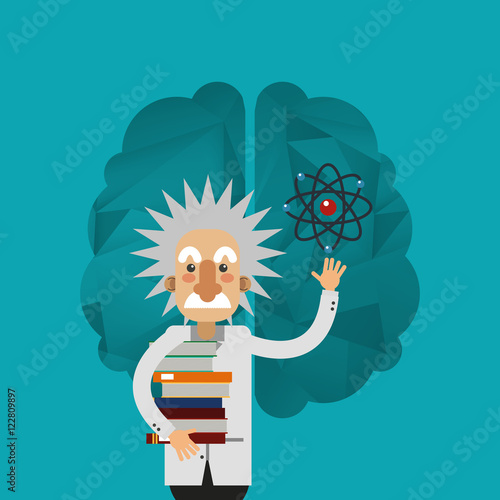 albert einstein and brain icon image vector illustration design Poster
