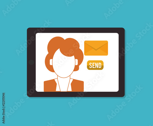 person avatar with messaging related icons image vector