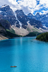 Moraine Lake is a glacially-fed lake located in the Valley of th