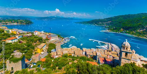 Tuinposter Liguria Panoramic view over Portovenere harbor village, Cinque Terre National Park, Liguria, Italy