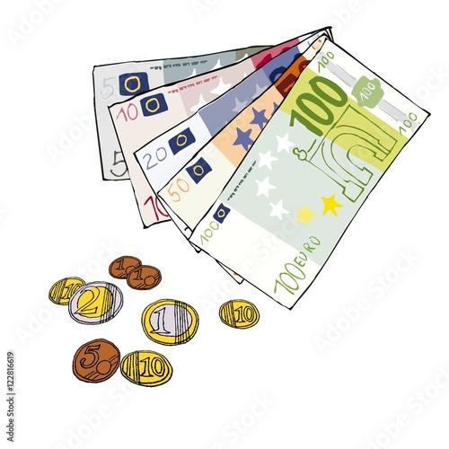 Wechselgeld Bargeld Scheine Munzen Euro Comic Von Hand Gezeichnet