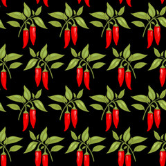 Panel SzklanySeamless pattern with cayenne pepper