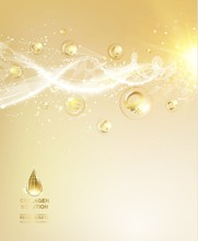 Scince Illustration Of A DNA Molecule. Organic Cosmetic And Skin Care Cream. Skin Care Concept. UV Protection And Whitening Cream. Golden Bubbles With Letters Over Shining Background.