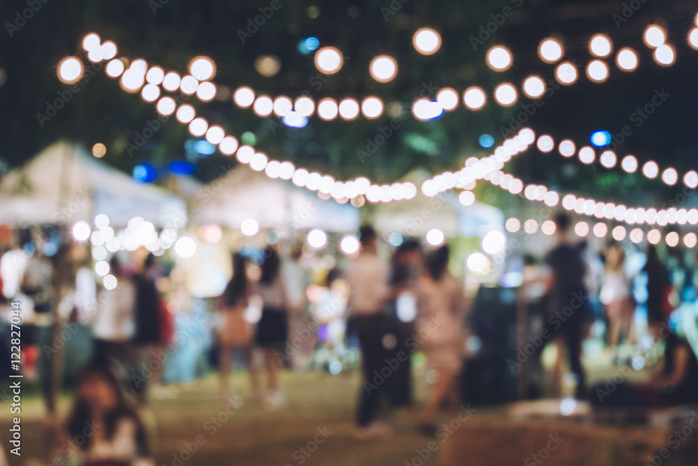 Fototapeta Festival Event Party with Hipster People Blurred Background