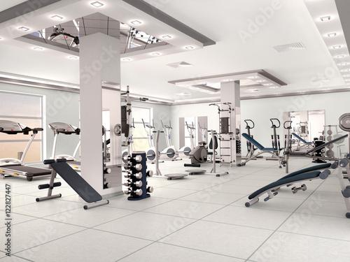 Fototapeta premium wnętrze nowej nowoczesnej siłowni wraz z wyposażeniem. Ilustracja 3D