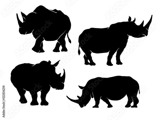 Photo rhino silhouette set