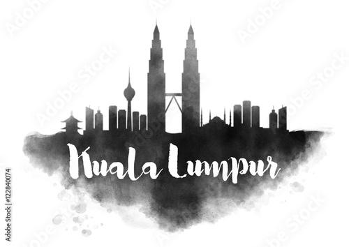 Photo  Watercolor Kuala Lumpur City Skyline