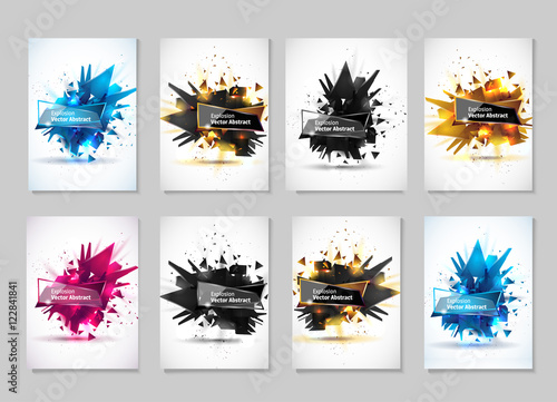 Fotografie, Tablou Vector illustration, abstract object, explosion substance matter