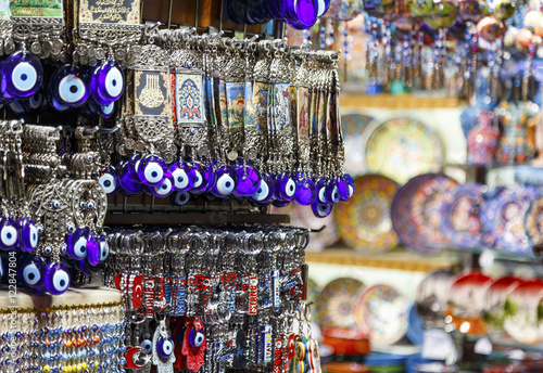 Turkish blue souvenirs with eyes in the Grand Bazaar of Istanbul Poster