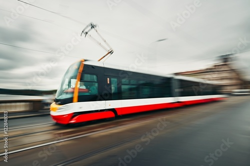 Tram of the public transport Canvas Print