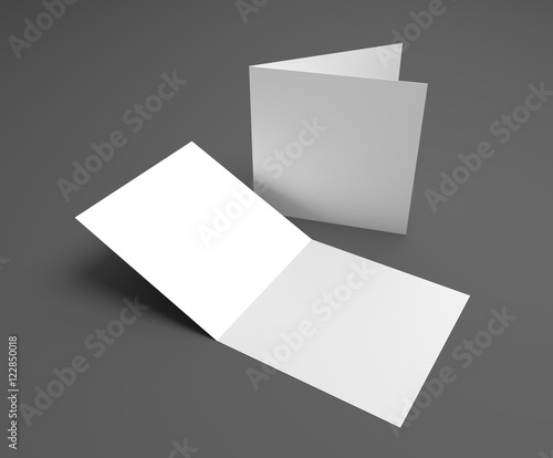 Fotografía  Blank 3d illustration square greeting card on dark gray
