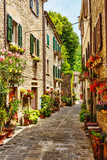 Fototapeta Uliczki - Narrow street in the old town in Italy