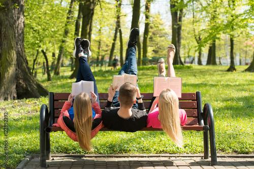Fotografie, Obraz  Zwariowana młodzież czytająca książki na ławce
