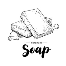 Handmade Natural Soap. Vector Hand Drawn Illustration Of Organic