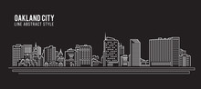 Cityscape Building Line Art Vector Illustration Design - Oakland City ,California