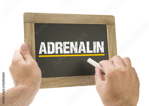 Fotografie, Obraz  Adrenalin - Hand schreibt auf Kreidetafel