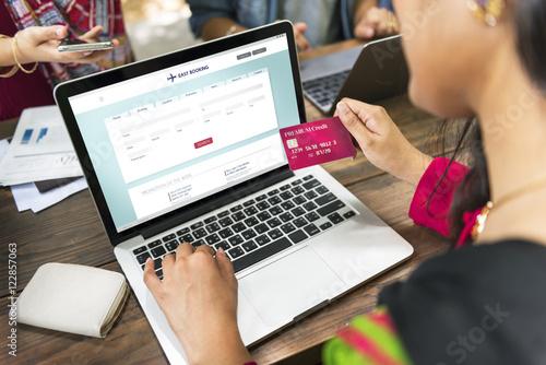 Fototapeta Flight Booking Ticket Online Credit Card Concept obraz na płótnie