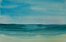 Watercolor Painting Of Sea, Impressionist Style