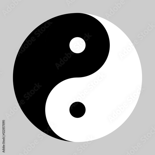 Fotografie, Obraz  Yin Yang symbol of Chinese phylosophy describes how opposite and contrary forces may be complementary, interconnected and interdependent in the natural world