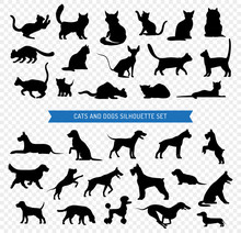 Dogs And Cats Black Silhouette...