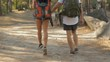 Couple of hikers walks away by the path