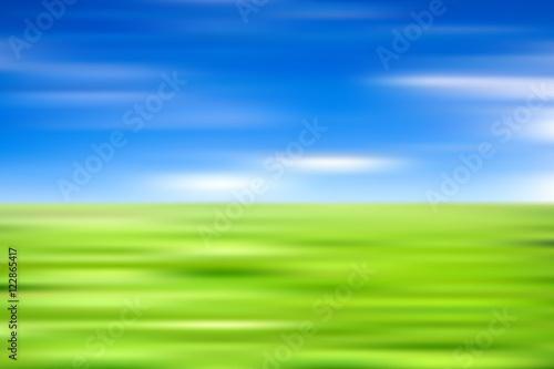 Poster Lime groen Landscape sky, meadow, field blur